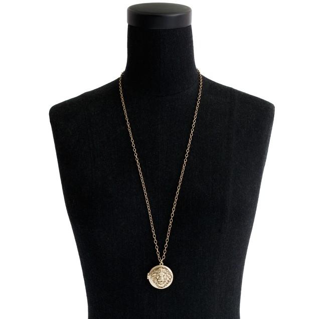 Lion head locket necklace