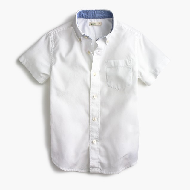 Kids' short-sleeve Secret Wash shirt in white poplin
