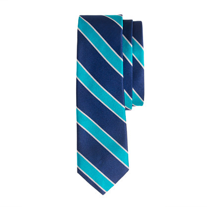 Silk tie in caribbean blue stripe