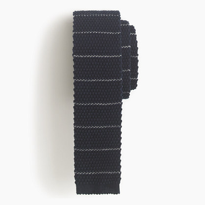 Italian cotton knit tie in thin stripe