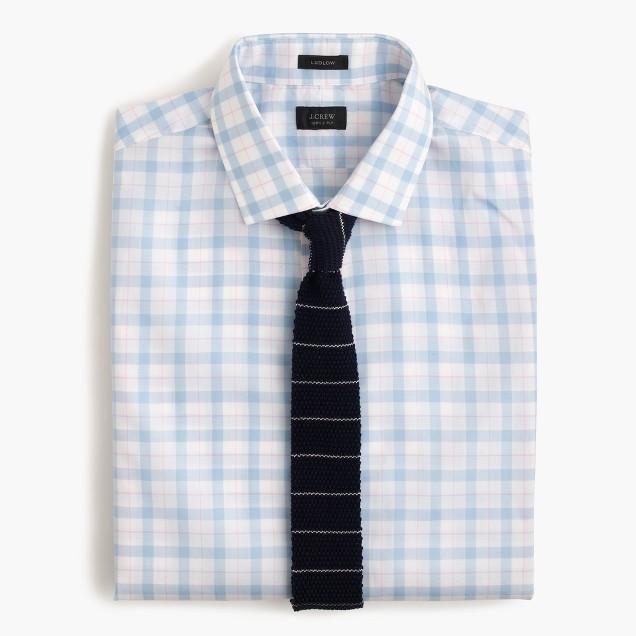 Italian cotton knit tie in thin stripe