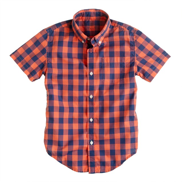 Boys' Secret Wash short-sleeve shirt in autumn coral oversize gingham