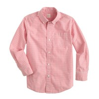 Boys' Secret Wash shirt in mini gingham