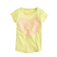 Girls' multicolor sequin heart tee