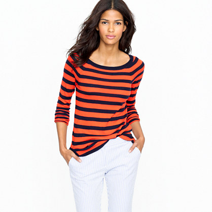 Featherweight cashmere stripe boatneck tee