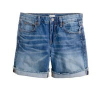 Denim short in faded indigo