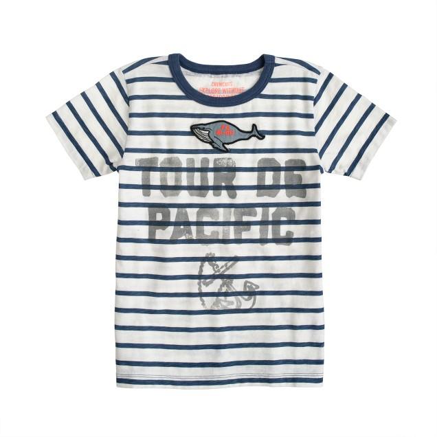 Boys' nautical stripe whale patch tee