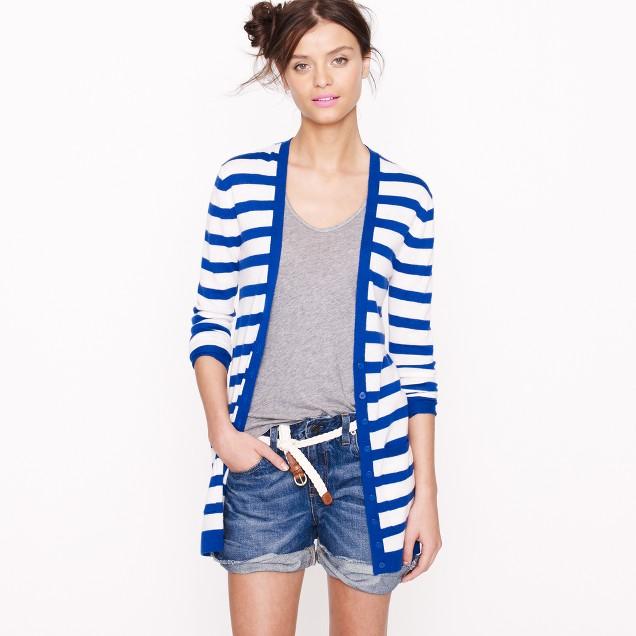 Featherweight cashmere stripe cardigan