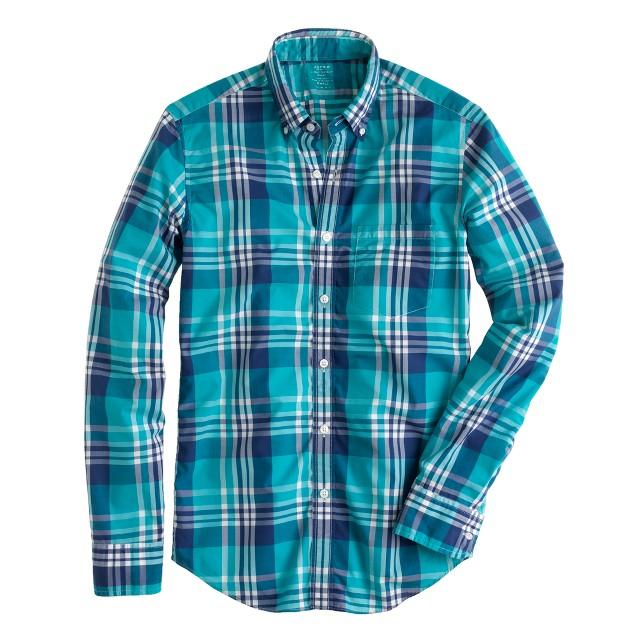 Slim lightweight shirt in havana blue plaid