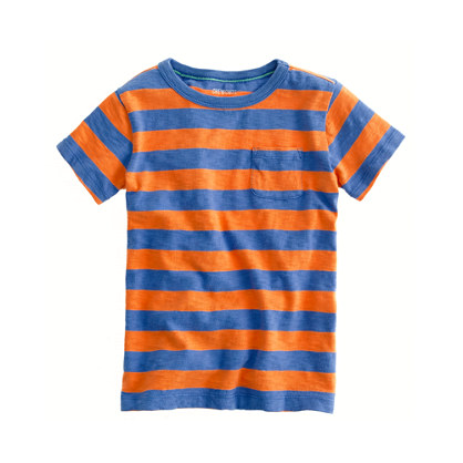 Boys' pocket tee in tangerine stripe