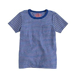 Boys' pocket T-shirt in cerulean cove stripe