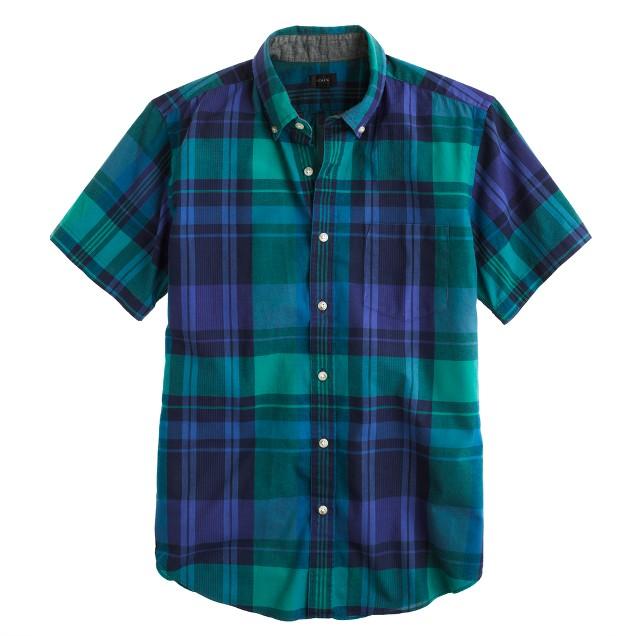 Indian cotton short-sleeve shirt in trellis vine plaid