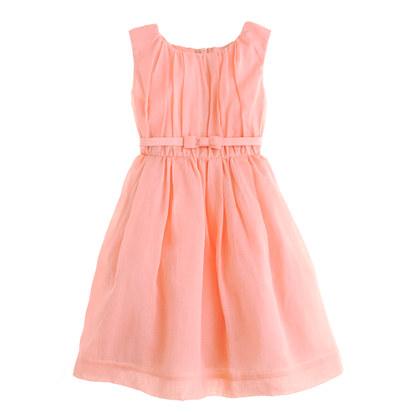 Girls' organdy bow belt dress