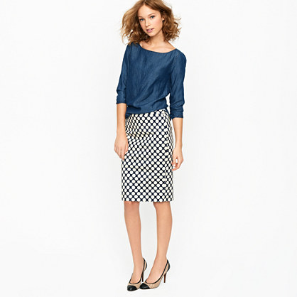 Petite No. 2 pencil skirt in Pop Art polka dot