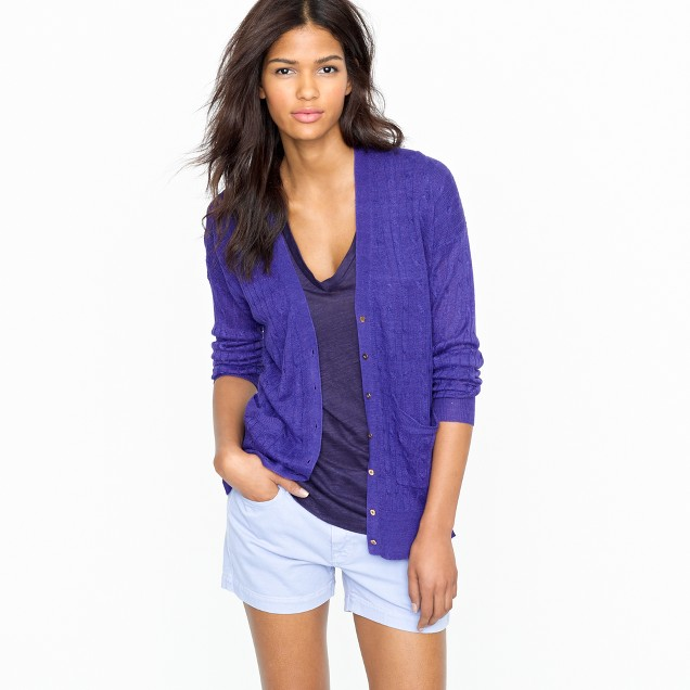 Linen cable-knit cardigan