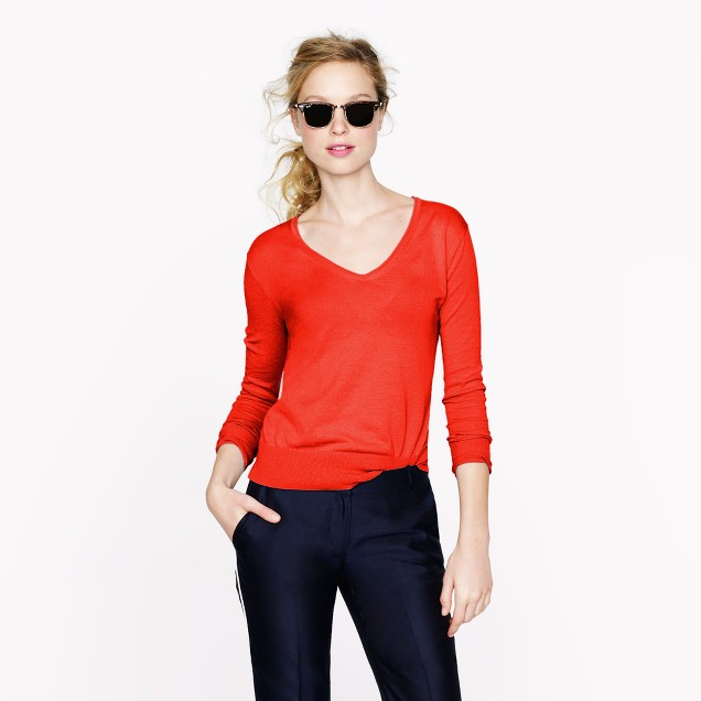 Featherweight cotton V-neck sweater