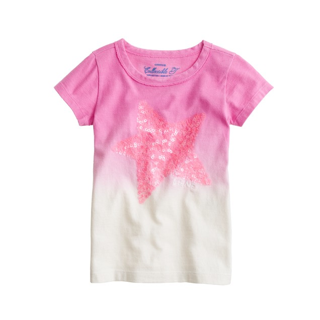 Girls' dip-dye sequin star tee