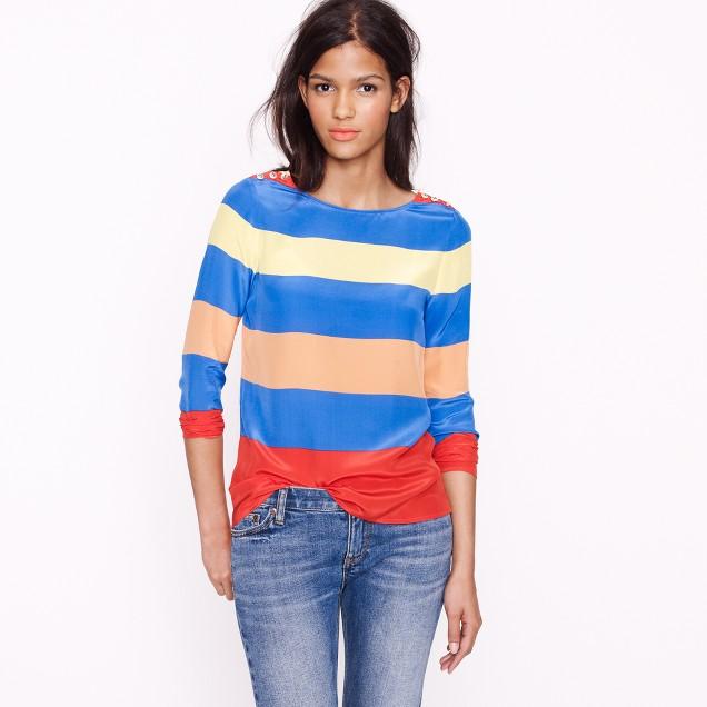 Petite Scoopneck blouse in colorblock stripe