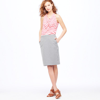 No. 2 pencil skirt in seersucker
