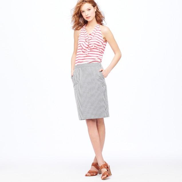 No. 2 pencil skirt in seersucker