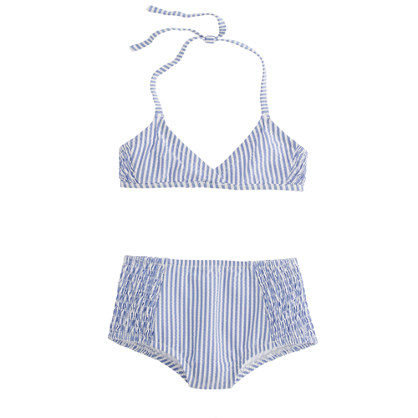 Girls' retro bikini set in seersucker