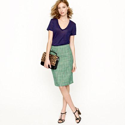 No. 2 pencil skirt in Caribbean tweed