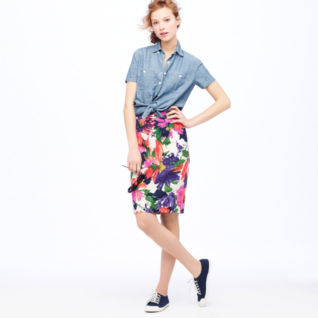 No. 2 pencil skirt in garden floral