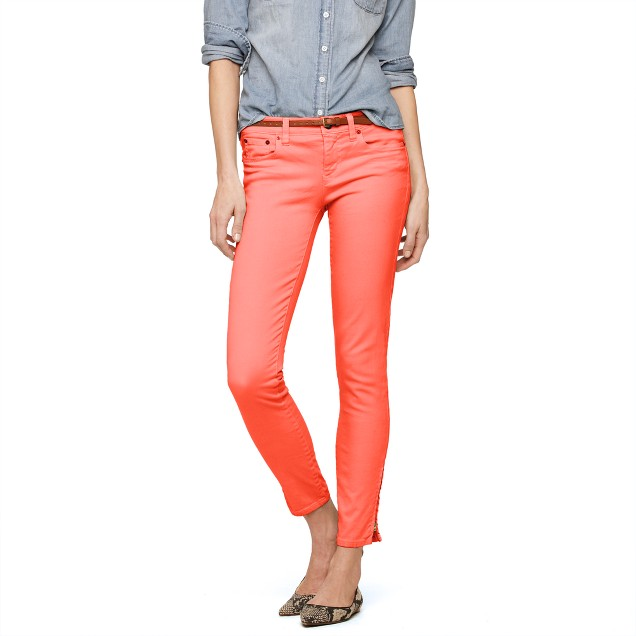 Tall garment-dyed ankle-zip toothpick jean