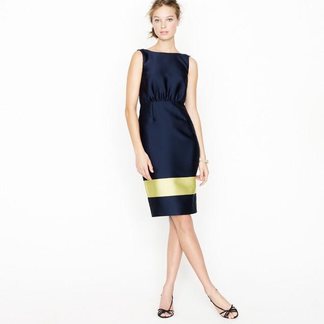 Colorblock silk V-back dress