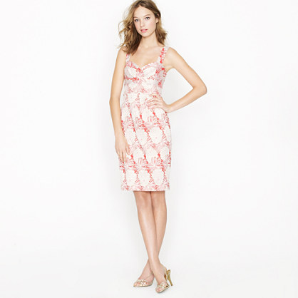 Pom-pom floral jaquard dress