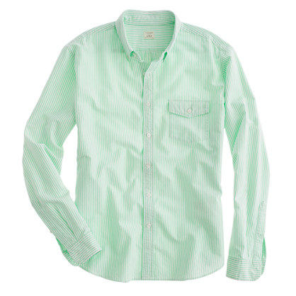 Stonewashed oxford shirt in key lime stripe