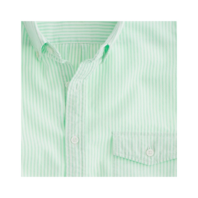 Stonewashed oxford shirt in key lime stripe