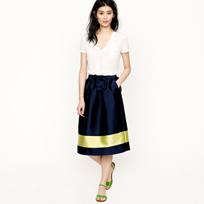 Collection colorblock silk skirt