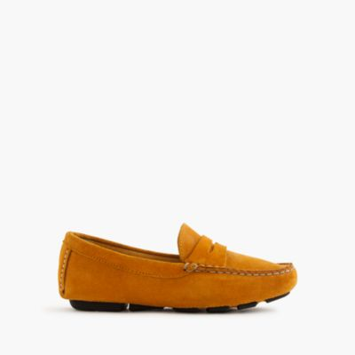 Kids' suede penny loafer driving mocs