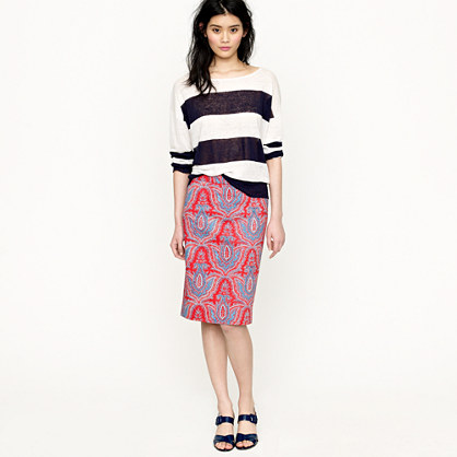 no 2 pencil skirt in raj paisley skirts j crew