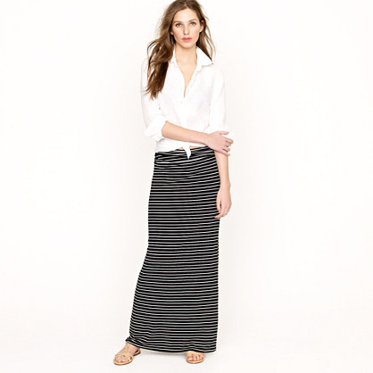 Jersey maxiskirt in stripe : Maxi | J.Crew