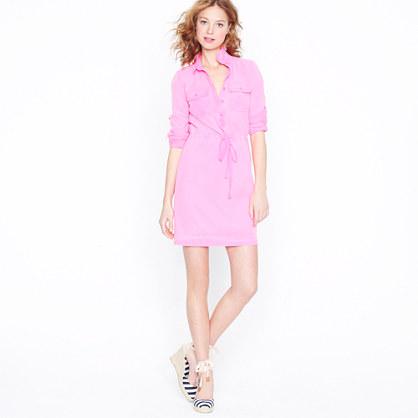 Garment-dyed drawstring shirtdress