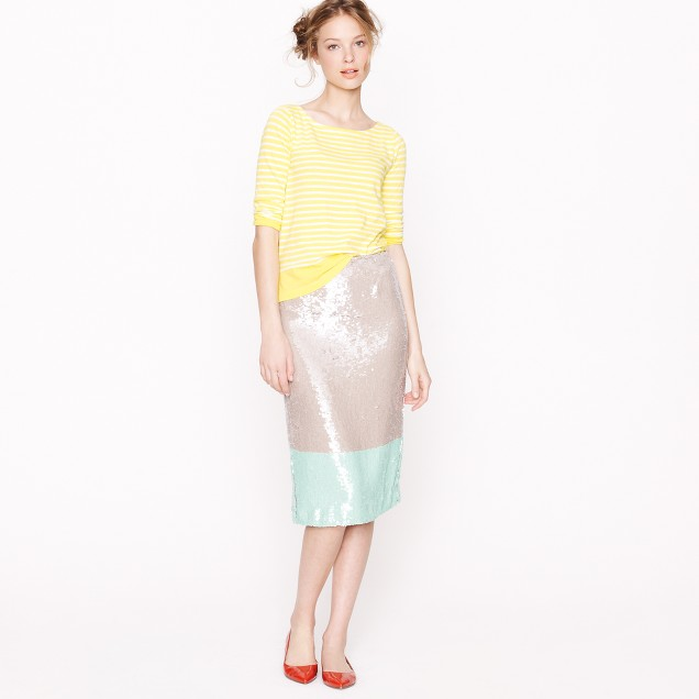 Collection pencil skirt in colorblock sequin