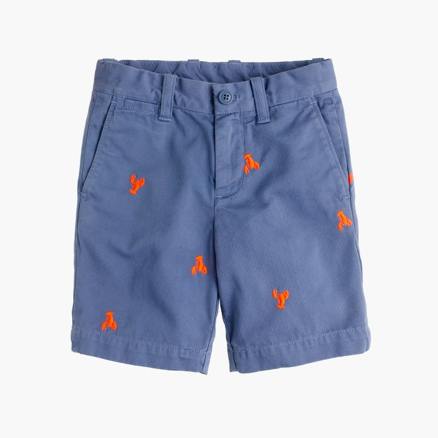 Boys' Stanton short in embroidered garment-dyed chino
