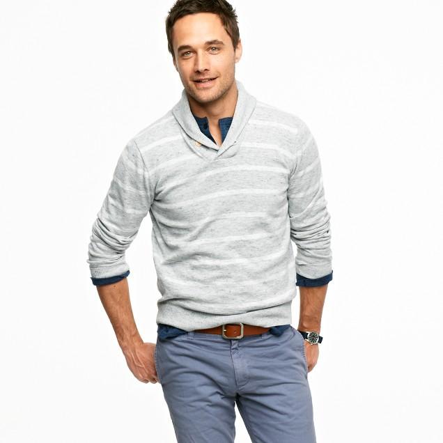 Shadow-stripe shawl-collar sweater