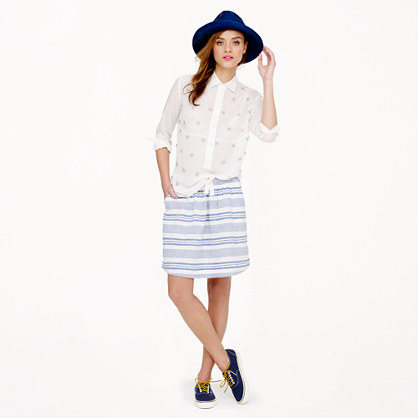 Boardwalk linen skirt in stripe