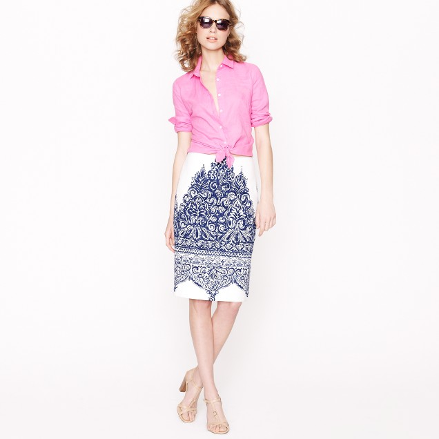No. 2 pencil skirt in porcelain paisley