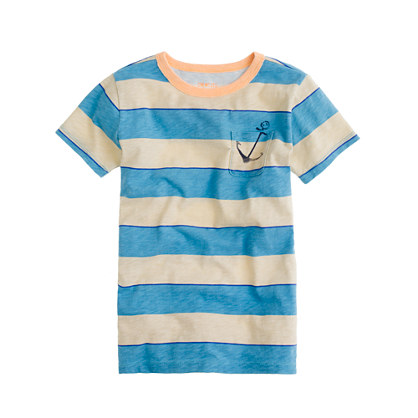 Boys' stripe anchor pocket tee