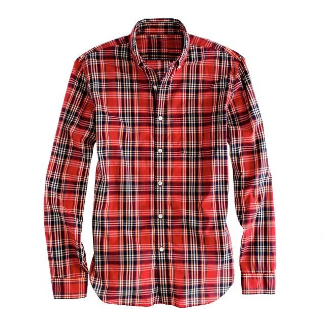 Secret Wash lightweight shirt in baneberry plaid