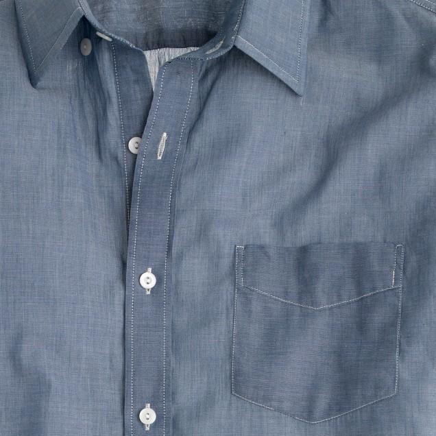 Lightweight short-sleeve shirt in chambray