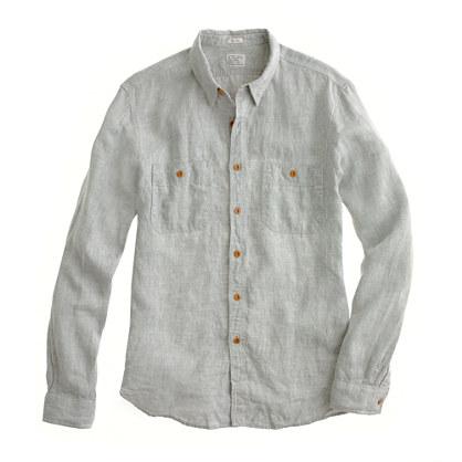 Slim linen utility shirt