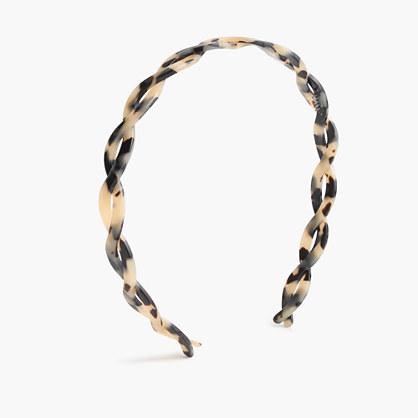 Braided headband in Italian tortoise