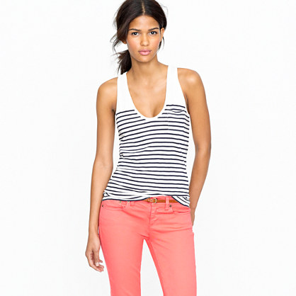 Vintage cotton pocket tank in stripe