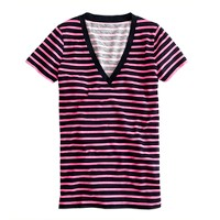 Vintage cotton V-neck tee in bold stripe