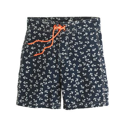 Boys' board shorts in anchor print